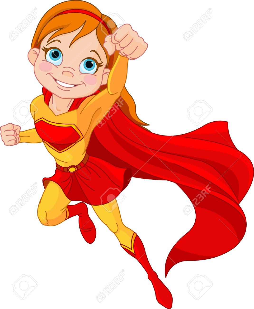 14782735-Illustration-de-fille-Super-Hero-chez-la-mouche-Banque-d'images